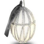 Glamour Osterei – Silber Stäbchenmuster